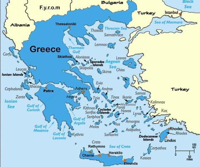 mapa grcke santorini Detaljna mapa grčkih otoka (KORISNO)! mapa grcke santorini